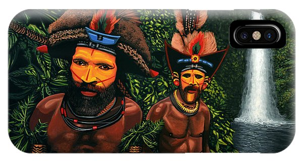 People iPhone Case - Huli Men In The Jungle Of Papua New Guinea by Paul Meijering