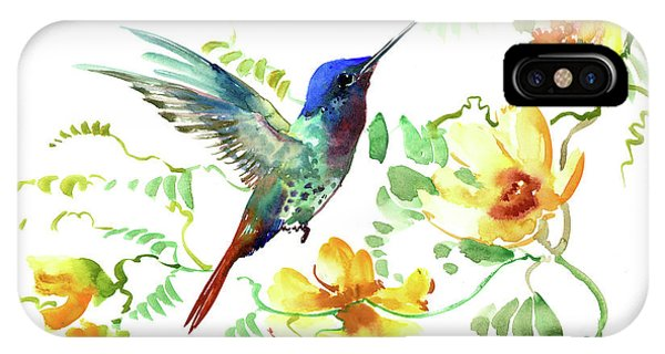 Hummibgbird And Yellow Flowers IPhone Case