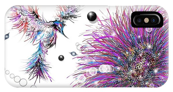 IPhone Case featuring the digital art Humming Bird And Flower by Darren Cannell
