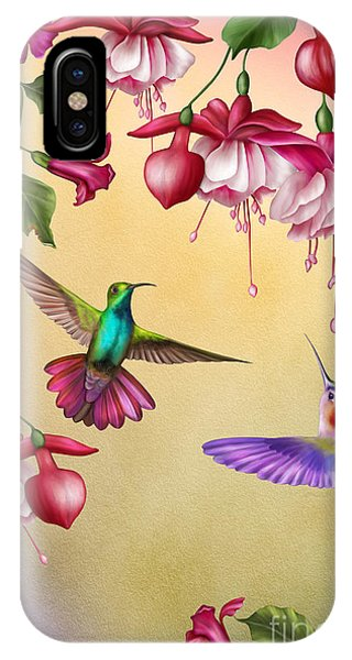 Humming Bird iPhone Case - Humming Birds And Fuchsia-jp2784 by Jean Plout