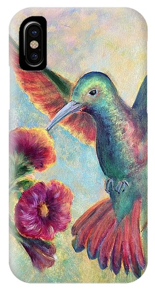 IPhone Case featuring the painting Humming Jewel by Lisa DuBois