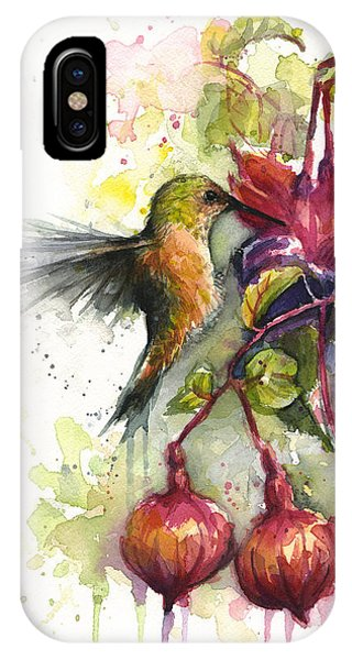Bird Watercolor iPhone Case - Hummingbird And Fuchsia by Olga Shvartsur