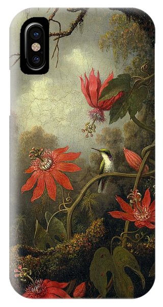 Hummingbird And Passionflowers , Martin Johnson Heade 1819-1904 IPhone Case