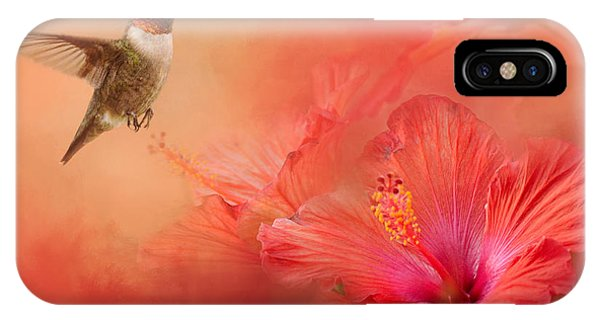 Humming Bird iPhone Case - Hummingbird And Peach Hibiscus by Jai Johnson