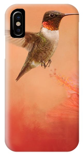 Hummingbird And Peach Hibiscus IPhone Case