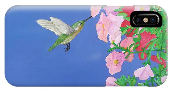 Hummingbird And Petunias IPhone Case