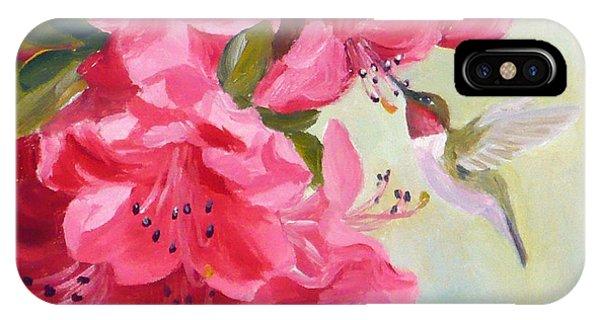 Hummingbird And Pink Azaleas IPhone Case