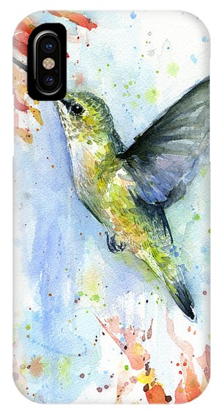 Bird Watercolor iPhone Case - Hummingbird And Red Flower Watercolor by Olga Shvartsur