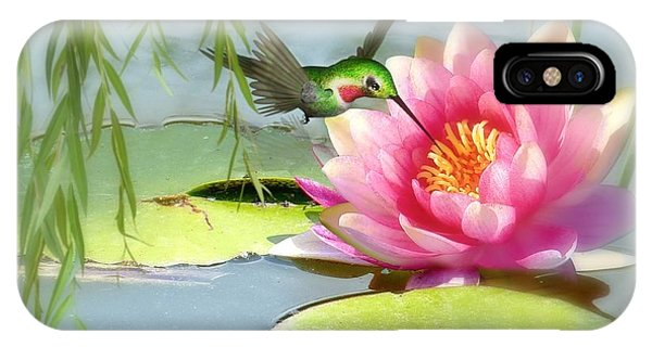 Hummingbird And Water Lily IPhone Case