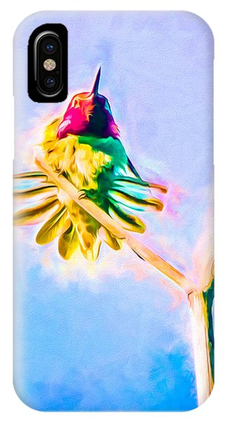 IPhone Case featuring the mixed media Hummingbird Art - Energy Glow by Priya Ghose
