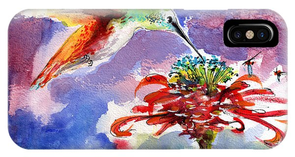 Hummingbird Drinking From Red Flower IPhone Case