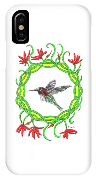 IPhone Case featuring the painting Hummingbird In Knots by Lise Winne
