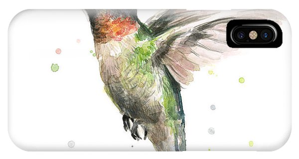 Bird Watercolor iPhone Case - Hummingbird by Olga Shvartsur