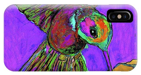 Hummingbird On Purple IPhone Case