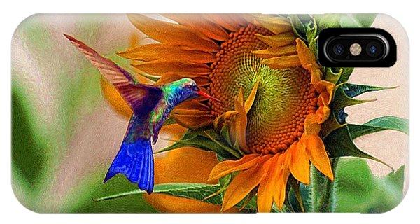 Hummingbird On Sunflower IPhone Case