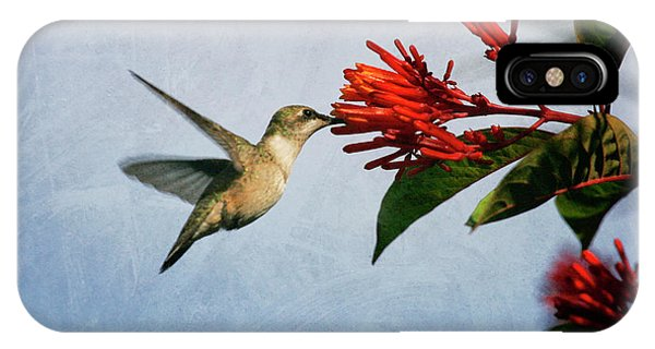 Hummingbird Red Flowers IPhone Case