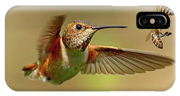 Hummingbird Vs. Bees IPhone Case