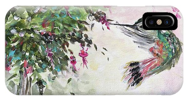 Hummingbird With Fuchsias IPhone Case
