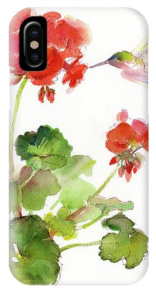 Hummingbird iPhone Case - Hummingbird With Geranium by John Keeling