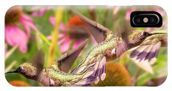 Beautiful Hummingbird iPhone Case - Hummingbirds Autumn Is Near by Betsy Knapp