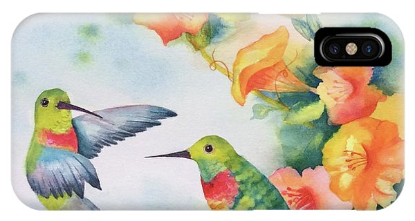 Hummingbirds With Orange Flowers IPhone Case