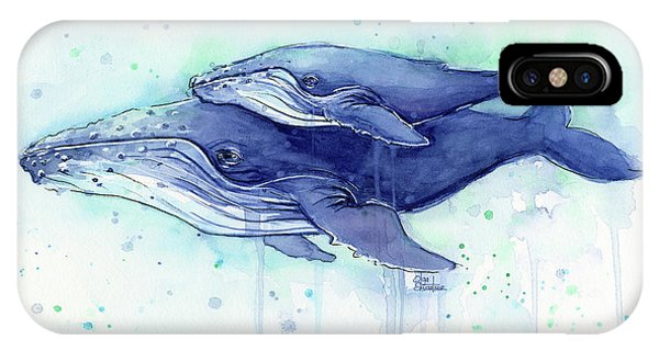 Drawing iPhone Case - Humpback Whale Mom And Baby Watercolor by Olga Shvartsur