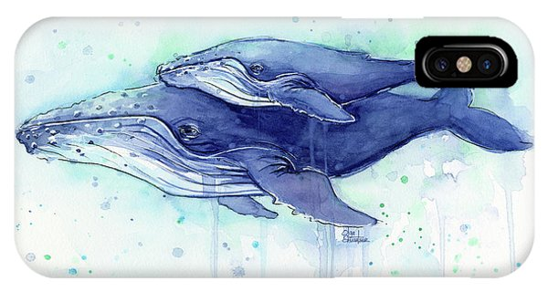 Whale iPhone Case - Humpback Whale Mom And Baby Watercolor by Olga Shvartsur