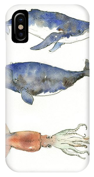 Rights iPhone Case - Humpback Whale, Right Whale And Squid by Juan Bosco