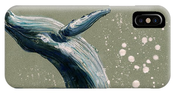 Whale iPhone Case - Humpback Whale Swimming by Juan  Bosco