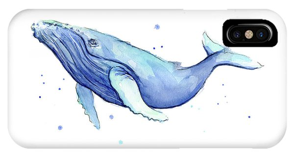 Whale iPhone Case - Humpback Whale Watercolor by Olga Shvartsur
