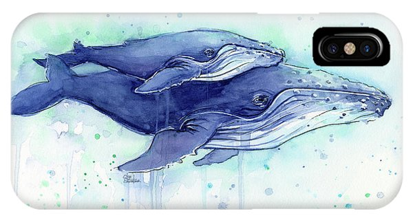 Whales iPhone Case - Humpback Whales Mom And Baby Watercolor Painting - Facing Right by Olga Shvartsur