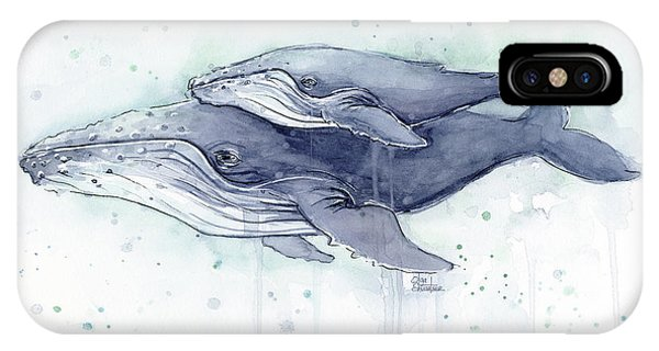 Whale iPhone Case - Humpback Whales Painting Watercolor - Grayish Version by Olga Shvartsur