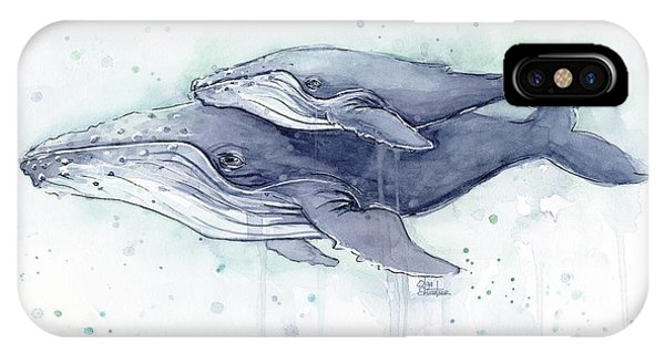 Whales iPhone Case - Humpback Whales Painting Watercolor - Grayish Version by Olga Shvartsur
