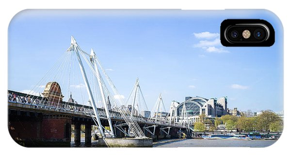 IPhone Case featuring the photograph Hungerford Bridge And Golden Jubilee Bridges by Stewart Marsden