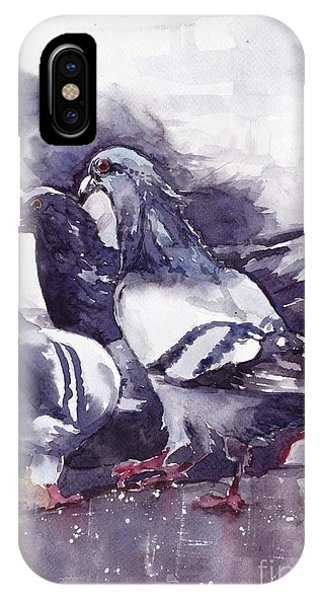 Wild Violet iPhone Case - Hungry Pigeons Watercolor by Suzann Sines