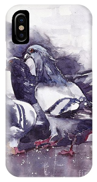 Sparrow iPhone Case - Hungry Pigeons Watercolor by Suzann's Art