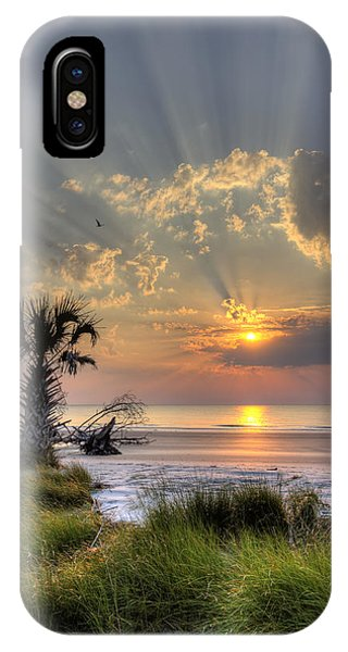 Hunting Island Sc Sunrise Palm IPhone Case