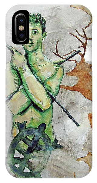 IPhone Case featuring the painting Youth Hunting Turtles by Rene Capone