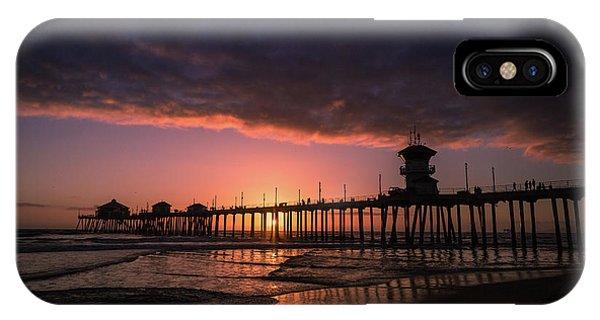Huntington Pier At Sunset IPhone Case