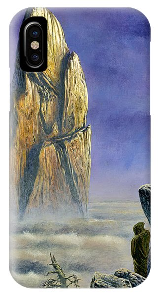 IPhone Case featuring the painting Hurin Looks Upon A Monolith Of The Echoriath by Kip Rasmussen