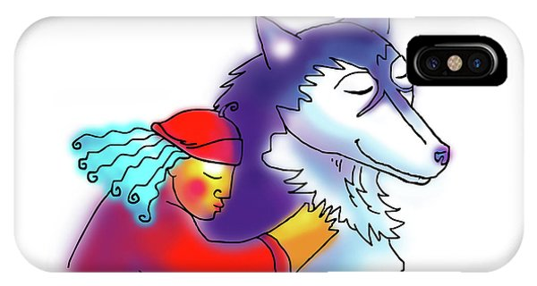 IPhone Case featuring the drawing Husky Love by Angela Treat Lyon