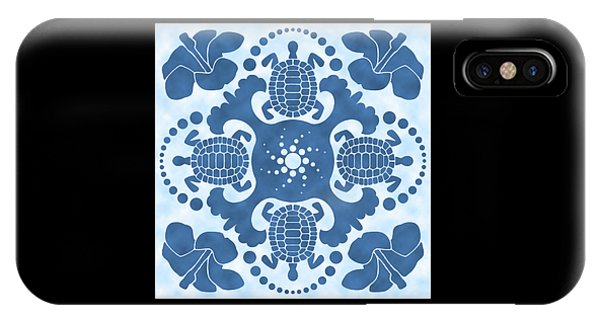 Hybiscus And Turtle Hawaiian Quilt Block IPhone Case