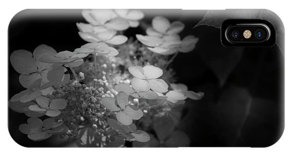 IPhone Case featuring the photograph Hydrangea In Black And White by Chrystal Mimbs