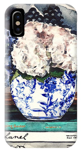 Designer iPhone Case - Hydrangeas In Blue And White Chinoiserie Melon Vase With Books by Laura Row