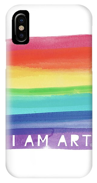 Famous Artist iPhone Case - I Am Art Rainbow Stripe- Art By Linda Woods by Linda Woods