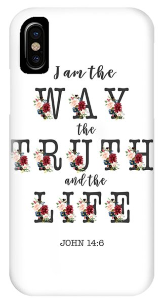 IPhone Case featuring the painting I Am The Way The Truth And The Life Typography by Georgeta Blanaru