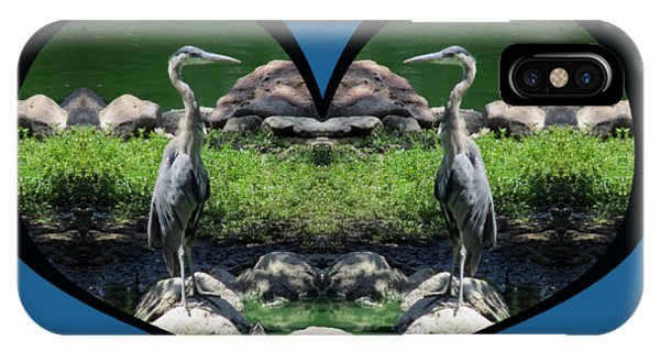 I Chose Love With A Heart Framing Blue Herons IPhone Case