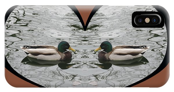 I Choose Love With A Pair Of  Mallard Ducks Framed In A Heart IPhone Case