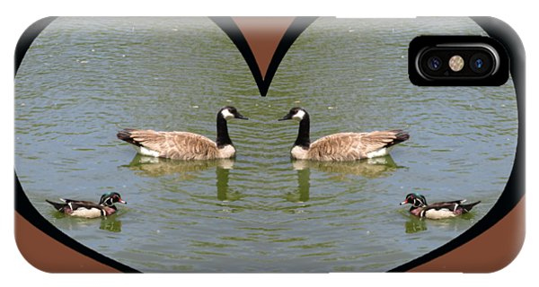 I Choose Love With A Spoonbill Duck And Geese On A Pond In A Heart IPhone Case