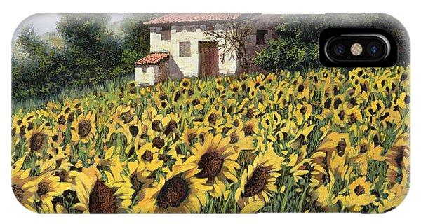 Sunflower iPhone Case - I Girasoli Nel Campo by Guido Borelli